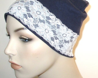 Navy Stretch Knit  Sleep Cap with White Lace Trim, Cancer Hat, Hair Loss, Lounge Cap, Chemo Hat