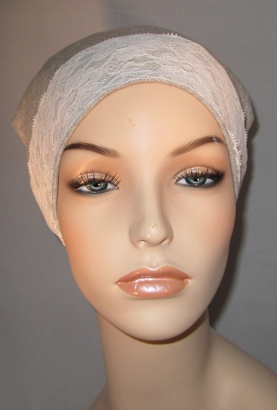 Gray Sleep Cap with White Lace Trim, Cancer Hat, Hair Loss, Lounge Cap, Chemo Hat