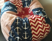 Seahorse Lobster and Nautical Anchors Bean Bag chair with modern chevron and vintage style ticking stripe red white and blue UNFILLED
