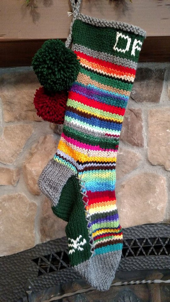 Old fashioned hand knit christmas stocking personalized dad for Fashion christmas stockings