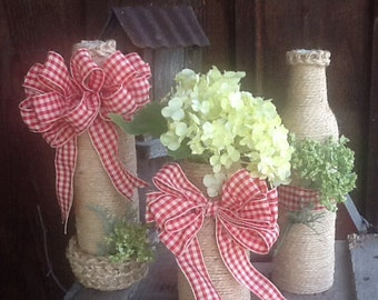 Country, Jute WRAPPED Bottles, red and cream gingham bow  - Vases, candle holders, made to order, recycled, clean