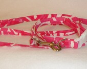 """Handcrafted Lilly Pulitzer Capri Pink """"I'm Game"""" Fabric Dog Collar & Leash Set"""