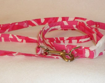 """Sale- Handcrafted Lilly Pulitzer Capri Pink """"I'm Game"""" Fabric Dog Collar & Leash Set -SALE"""