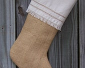 Burlap Christmas Stockings Tailored Fringed Country French Farmhouse Chic Personalized Man Boy Guys 253