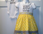 Adorable Personalized Matching Big Sister Little Brother Sibling Set Custom Made to Order Perfect Coming Home Outfit or For Baby Gift