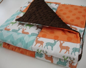 Meadow Deer Orange and Aqua Chevron and Polkas Minky Baby Blanket You Choose Size MADE TO ORDER No Batting