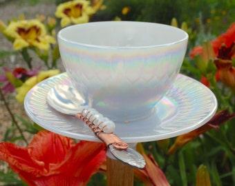 Bird Feeder - Butterfly Feeder - Hummingbird Feeder - Teacup Bird Feeder - Opal Bird Feeder -  Garden Decor - Opal Teacup - Floral Teacup