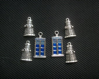 6 Police Box and Robot Alien Charms Silver Tone Metal