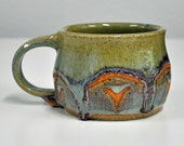 Large Handmade Stoneware Mug Green Aqua Brugancy Cup Handmade Ceramic Mug by Bonnie Stowe Pottery