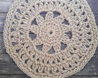 Round Jute Cord Crochet Rug Flower Center 26""