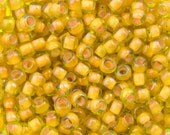 "Inside Color Jonquil / Apricot Lined Toho Seed Bead 11/0 2.5"" Tube TR-11-302/C"