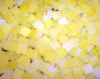 Mini Lemon Yellow Tumbled Stained Glass Mosaic Tiles