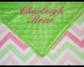 Personalized Baby Girl Chevron Minky Dot Baby Blanket~Nursery~Crib~Name~