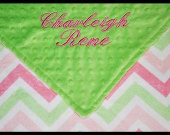 Personalized Baby Girl Chevron Minky Dot Baby Blanket~Nursery~Crib~Name~