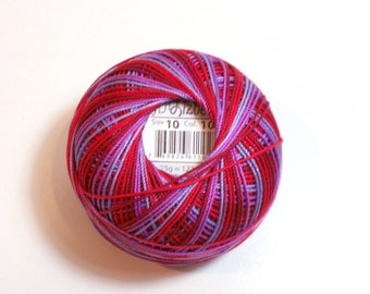 Crochet Thread, Lizbeth Size 10 Cotton Tatting Thread, Western Sunset Color Number 102, Red Crochet Thread