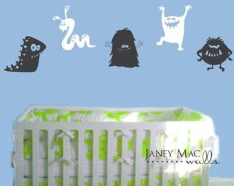 Monster Wall Decal - Monster Wall Sticker Decor - Boys Bedroom Nursery - CB164