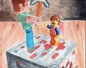 Minecraft meets Lego Emmet ORIGINAL watercolor painting by Redstreake