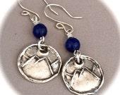 Rustic Mountain Earrings, gemstone - sapphire, ruby, emerald, purple jade - Recycled Silver