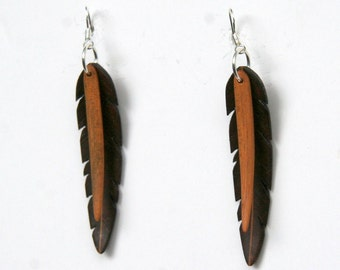 Handcarved Black Walnut, Ivorywood and Mahogany Feather Earrings J150712
