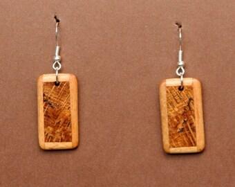 Spalted Oak and Maple Wood Earrings  J150778