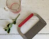 Vintage Crinkle Cutter - Cheese Slicer - Huott St. Paul - Red Handle Kitchen Utensil