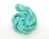 Duck egg blue perle 5 embroidery thread, hand dyed yarn, 20 metre skein - pale blue, grey green, light blue crochet yarn, sewing thread