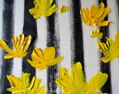 Black White and Lemon Original Oil Painting, stripe, flowers, yellow