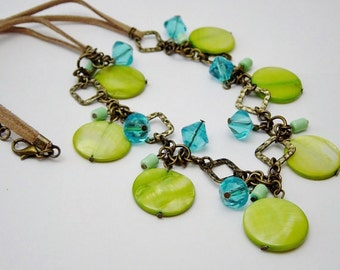 Neon Green Shell Bead Necklace,Green Shell Bead Necklace, Turquoise Glass Bead Necklace,Beach,Boho, Suede Cord Necklace, Antique Brass