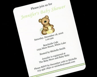 Baby Shower Invitations - Gender Neutral Baby Shower Invitations - Teddy Bear - Green - Personalized Invitations - Set of 20