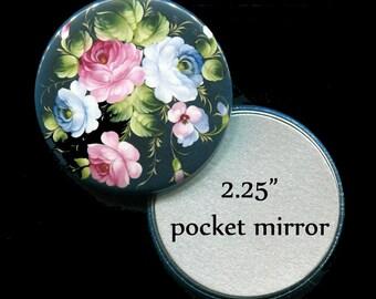 """Bridal Shower Favors - Pocket Mirror Favors - Bridal Favors - Mirror Favors - 2.25"""" Pocket Mirror - Floral"""