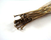 25 Antique Gold Headpins 4 inch (10.1cm) Plated Brass, 21 Gauge - 25 pc - F4001HP-AG425