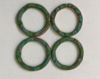 QTY 4  - 20mm Hand forged, Textured Jumprings -  Free Shipping US