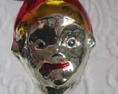 Figural Ornament handblown Glass ornament .  Elf Head Ornament . Elf Ornament . Elf Glass Ornament. mercury glass head ornament