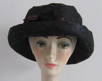 Black Hat . Damask hat . back damask hat .  Tea party Hat . Tea Party Flower Hat