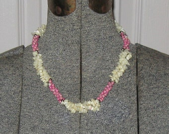Carved MOP Necklace . Carved Mother of Pearl and Pink Bead Necklace . carved mother of pearl
