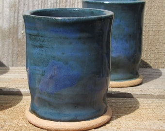 Pottery Small Juice Tumbler In Blue