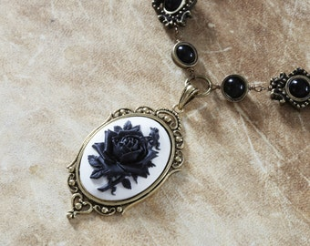 Steampunk Goth Jewelry - Necklace - White and Black Rose Cameo -  Black Onyx