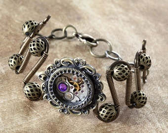 Steampunk Jewelry - Bracelet - antique watch movement and Heliotrope swarovski crystal