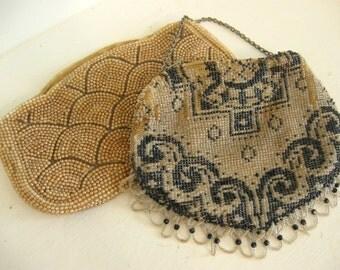Antique Bead Purse Beaded Bag Pair Set of 2