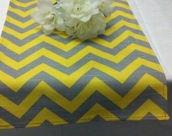 """SAMPLE SALE- RUNNER 28"""" Yellow and Grey Zig Zag Table runner  Sun Yellow gray ZigZag Chevron rpst"""