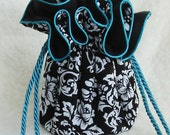 Anti Tarnish Black Damask Jewelry Bag Pouch with turquoise trim