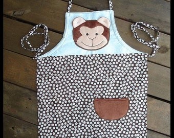 Childs Kids Monkey Apron, Multisized, Adjustable Strap, Ready to ship