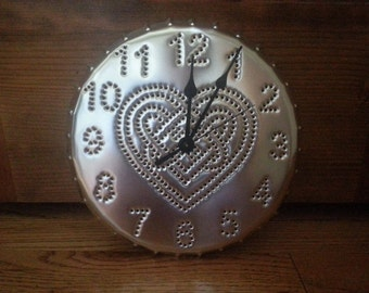 Celtic Heart Clock Silver Hand Tin Punch 10 Inch By Larry West