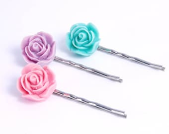 Flower Pins Pastel Pink Mint Green Purple Hair Ornament Accessories Gifts for Her Under 15