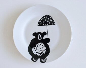 Bear on a bike breakfast plate