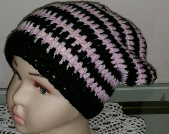 Little Girls Slouchy Beanie in Pink and Black stripes