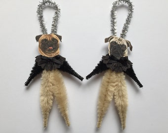 PUG ornaments dog ORNAMENTS ornaments vintage style chenille ornaments set of 2