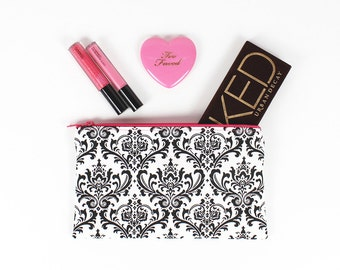 Black and White Damask makeup bag, Hot Pink lining and Hot Pink zipper