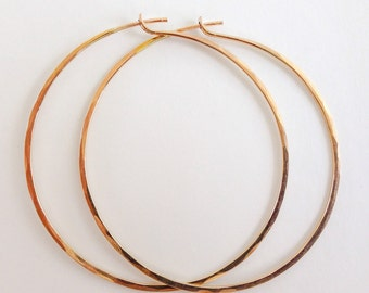 Handmade Artisan Extra Large Classic Hoops 14kt Gold Filled Hoop Earrings