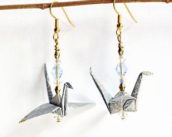 Ice blue earrings for friends| Blue earrings for mom| Blue jewelry for wife| Blue jewelry for friends| Origami crane earrings